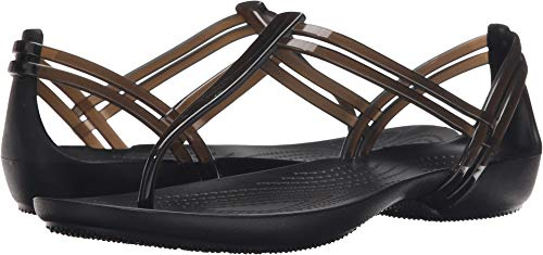 Crocs Women's Isabella T-Strap Sandal, Black, 4 M US