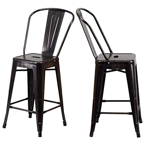 - Modern Vintage Style Premium Metal Construction Indoor-Outdoor Bar Stool Curved Backrest Vertical Slat Design Counter Height Side Chair Home Office Decor Furniture - Set of 2 Black-Antique Gold #2023