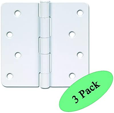 3 Pack Designers Impressions 22425 White Door Hinge 4 Inch x 4 Inch with 1//4 Radius Corners