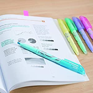 Pilot FriXion Light Pastel Collection Erasable Highlighters Set of 5 Yellow Pink Green Purple Blue;  Too Much, or The Wrong Color Highlighted? No Need To Stress with America's #1 Selling Pen Brand (Color: Yellow, Pink, Green, Purple & Blue, Tamaño: 5-Pack)