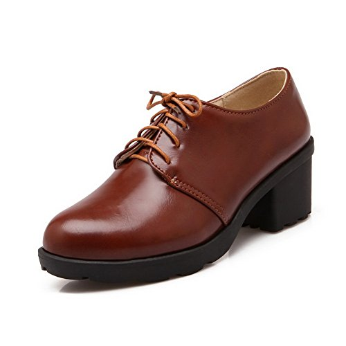 Balamasa Dames Chunky Heels Bandage Platform Urethaan Oxfords-schoenen Bruin