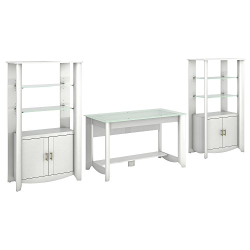 Aero Writing Desk and Set of 2 Tall Library Storage Cabinets with (Small Corner Curio Cabinet)