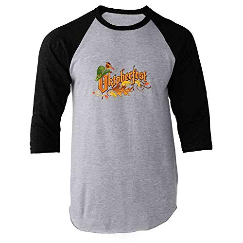 Pop Threads Oktoberfest Party Black 3XL Raglan Baseball Tee -