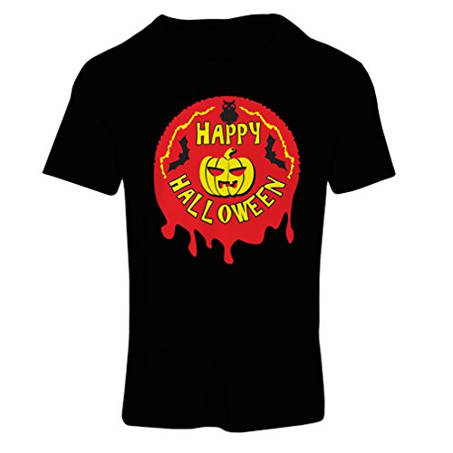 T Shirts for Women Happy Halloween! - Party Clothes - Pumpkins, Owls, Bats (Medium Black Multi Color) -