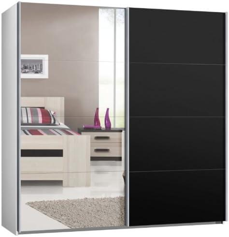 Armario de puertas correderas, puerta corredera, B/H/T: aprox 225/220/69 cm, blanco con espejo y negro, armario: Amazon.es: Hogar