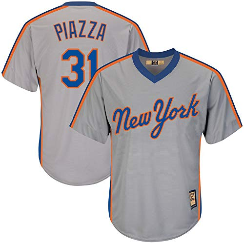 Mens #31 Mike Piazza New York Mets Big & Tall Cooperstown Collection Cool Base Player Jersey - Gray M