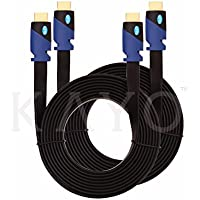 FLAT HDMI Cable - 10 FT (2-Pack) High Speed HDMI Cable (0.9m) Flat Wire - Supports, 4K, Ultra HD, 3D, 2160p, 1080p, Ethernet and Audio Return (Latest HDMI 2.0b Standard) -10 FEET, Bonus CABLE Tie