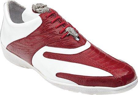Belvedere Mens Bene Sneaker Rosso Struzzo / Vitello Bianco