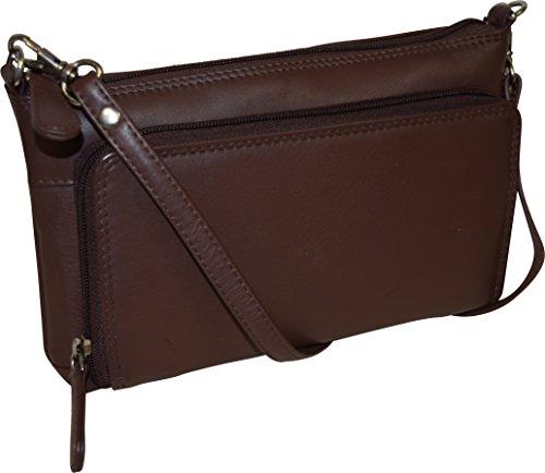 Pielino Women's Genuine Leather with Organizer (Brown) (Crossbody Bag Built In Wallet)
