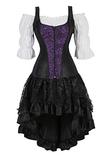 Purple Pirate Costume (frawirshau Steampunk Corset Dress Bustiers and Punk Skirt and White Blouse Pirate Costume, Purple)