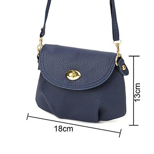 Oscuro Con De Solapa Mujer Tamaño Color Azul Para Pequeña Anladia Bandolera Bolso OBaq44