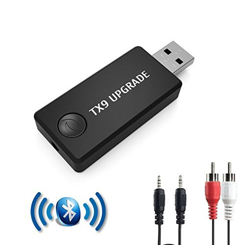 [Updated TX9] Bluetooth Transmitter, Wireless 3.5mm Music Adapter(A2DP Low Latency, Pair 2 at Once, for TV/Home Sound System, USB Power Supply)-Not A Receiver