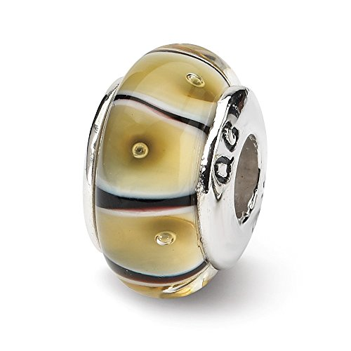925 Sterling Silver Charm For Bracelet Yellow Hand Blown Glass Bead Glas H Fine Jewelry Gifts For Women For Her