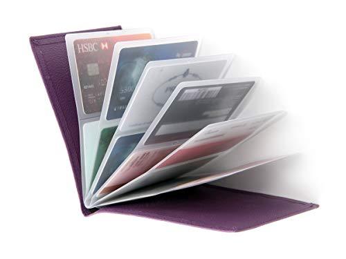RFID Blocking Wallet - Leather Business Credit Card Holder Case/Wallet Insert Card Sleeves - Purple ()