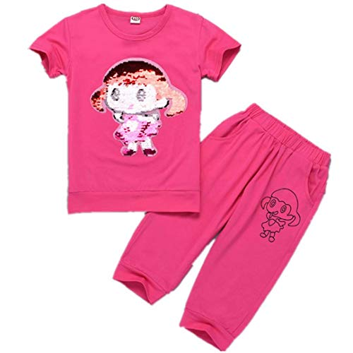 Girls Child Flip Sequins Outfit Set Toddler Girl Cotton Clothing Sets