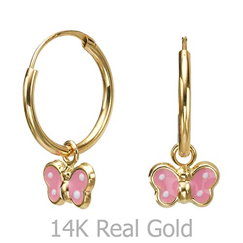 14K Solid Yellow Gold Hoop Charm Earrings Animals Arbela Butterfly Gift Teen Girls Baby Child Kids