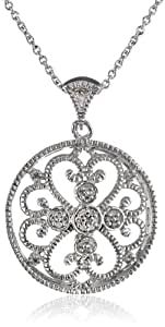 """Sterling Silver Diamond Accent Round Pendant Necklace (.07 cttw, ), 18"""""""