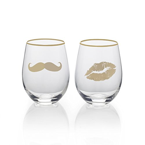 Mikasa Stemless Wine Glass Gift Set, 18-Ounce, Mustache/Lips