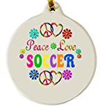 Peace Love Soccer Porcelain Ornament Girl Power Team Coach Holiday