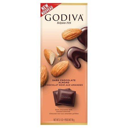 Godiva Chocolate Bar Tablet Dark 72 percent Almond, 3.1 oz ()