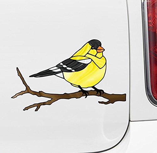 Bird - Goldfinch - Stained Glass Style Opaque Vinyl Car Decal - Copyright 2015 Yadda-Yadda Design Co. (MD 7