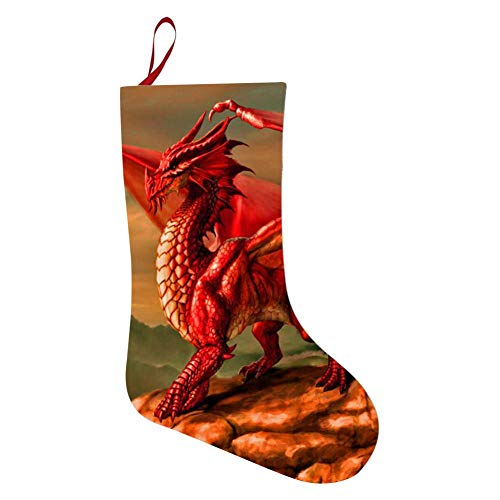 OPQNIAFH Red Dragon Christmas Stockings Xmas Ornaments Hanging Decorations Socks Santa Claus Present Bag