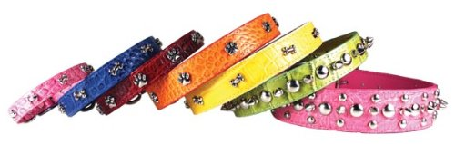 OmniPet Faux Crocodile Signature Leather Pet Collar with Heart Ornaments, Red, 1 by 26