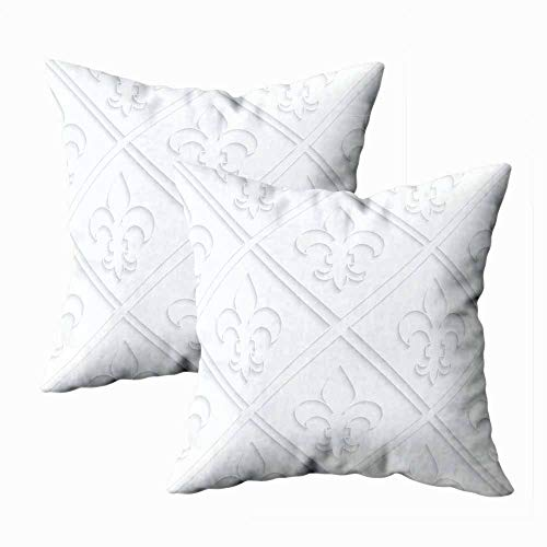Pamime Pillow Covers 18X18 Inches, Outdoor Pillow Covers Paper Geometric Background Pattern Cut Effect Realistic Shadow Fleurdelis Gridwhite 3D Decorative Cushion for Home 2 Pack Art Pillowcase (Ornaments Quilled 3d Christmas)