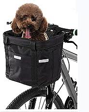 CMLLING Front Bike Basket,Dog Bike Handlebar Basket Front,Removable Bicycle Handlebar Front Basket,Multi-Purpo