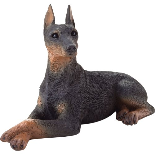 (Sandicast Small Size Black Doberman Pinscher Sculpture, Lying)