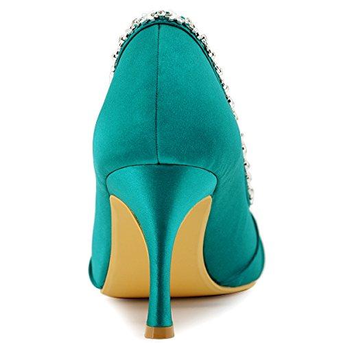 Peep Toe EP2094 Shoes Heel Wedding Bridal Rhinestones Ruched High ElegantPark Teal 1xHCqwTp