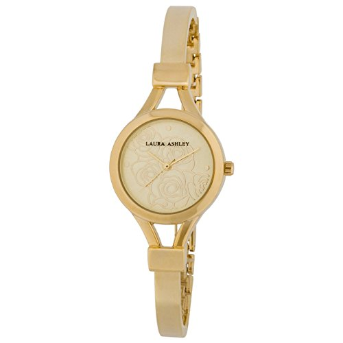 Laura Ashley Women's Thin Bangle with Floral Dial Watch, Gold (Dial Watch Floral)