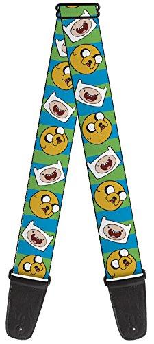 Adventure Time Theme Nylon Guitar Strap - Jake & Finn Repeating on Stripes