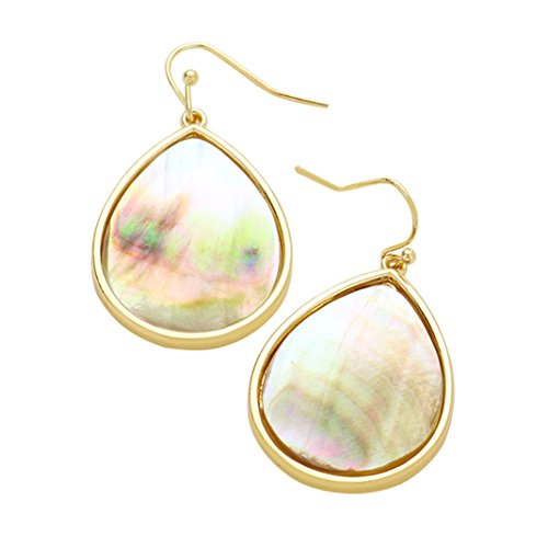 Abalone Shell French Wire - Rosemarie Collections Women's Shimmering Shell Teardrop Fashion Dangle Earrings (Abalone)