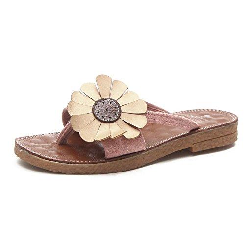 Sandalias de las mujeres Verano Nuevo Cómodo Slipper Clips Sandalias de punta Simple Beach Shoes Negro Verde Amarillo Rosa GAOLIXIA Rosado