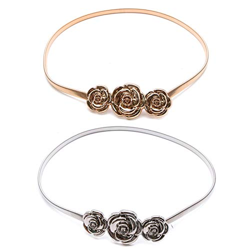 WSSROGY 2Pcs Women Metal Flower Elastic Waist Belt Clasp Stretch Waist Belt (Gold and Silver)