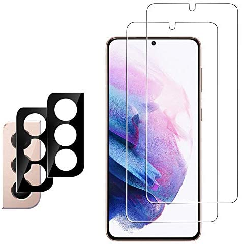 Ferilinso [4 Pack] 2 Pack Screen Protector for Samsung Galaxy S21+ Plus 5G with 2 Pack Camera Lens Protector [100% Support Ultrasonic Fingerprint Unlock-Super Fast] [Tempered-Glass] [Case Friendly]