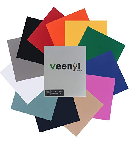 HTV Flock Heat Transfer Vinyl Bundle 10x12: 12 Assorted Colors Iron On Vinyl for Silhouette Cameo, Cricut or Heat Press