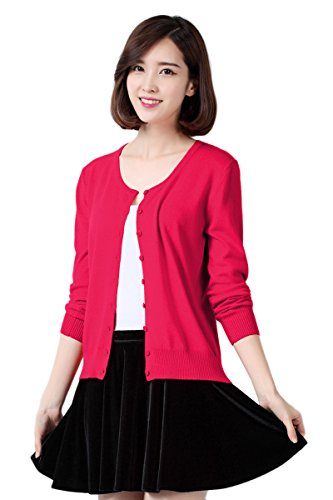 YMING Womens Button Down Long Sleeve Basic Soft Knit Cardigan Sweater Rose 3XL