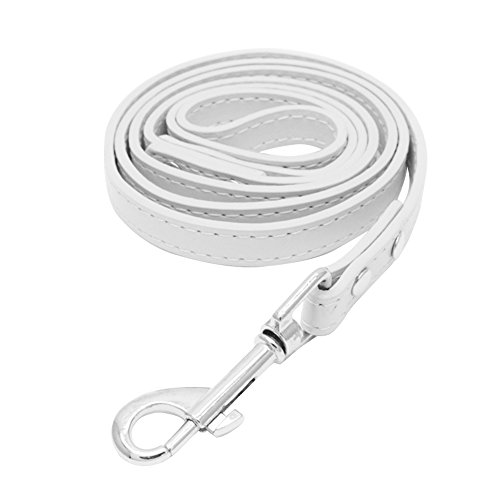 Alamana Large Medium-size Pet Dog Terriers Faux Leather Leash Traction Rope Strap size M (White)