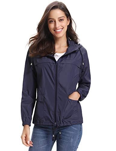 Abollria Women Lightweight Waterproof Raincoat Windbreaker Rain Jacket Outdoor Hooded Trench Coats by Abollria