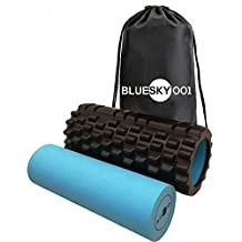 BlueSky001 2-1 Foam Roller. Outer Trigger Point Foam Roller for muscles tension and soreness & Inner Smooth Rollers for Healing – 12 Pages Exercise Book (Hard Copy) and Carry Bag Included! Black - Smart Gift for your Loves!