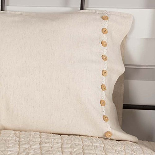 Clara's Cottage Natural Pillow Cases, Set/2, 21x30, Vintage Farmhouse Style, Lace & Buttons, Cream by Piper Classics (Image #4)