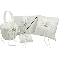 Venus Bridal 4pcs Sets Wedding Guest Book +Pen Set +Flower Girl Basket + Ring Pillow,Double Heart Rhinestone Elegant Wedding Ceremony Set for Wedding Decoration Supplies