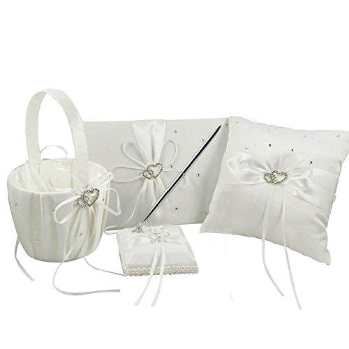 Venus Bridal 4pcs Sets Wedding Guest Book +Pen Set +Flower Girl Basket + Ring Pillow,Double Heart Rhinestone Elegant Wedding Ceremony Set for Wedding Decoration - Wedding Set Book Ivory