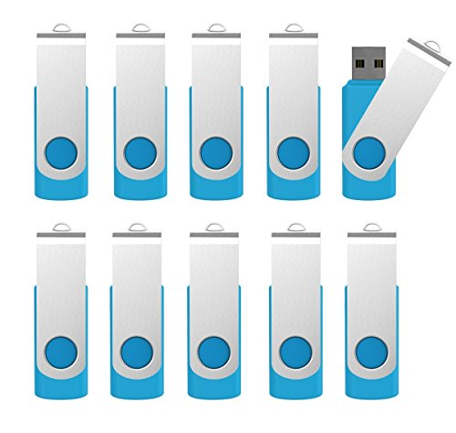 10 X mosDART 128MB Small Capacity USB2.0 Bulk Flash Drive Swivel Thumb Drives Jump Drive Pen Drive Zip Drive with Led Indicator,Blue - 10Pack (Without Logo,Not 128GB)