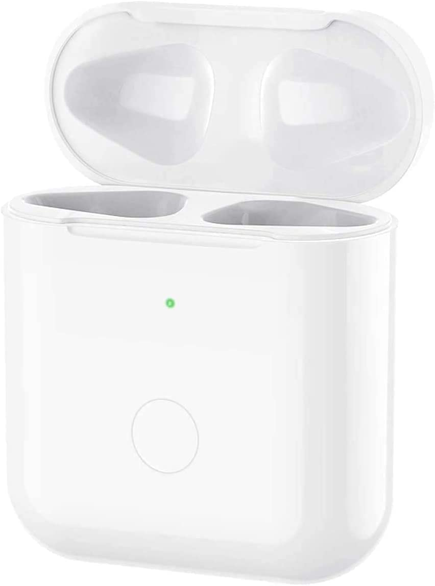 Airpods Wireless Charging Case Replacement, with Free Silicone case, Wireless Charger Battery Case Compatible with AirPods 1 & 2, NO EARPODS (White)