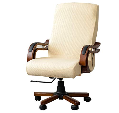 MOCAA Computer Office High Back Large Chair Covers Stretchable Polyester Washable Rotating Chair Slipcovers,ONLY Chair Covers M009 (Beige) (Office Chair Back Slipcovers)