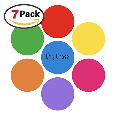 Teacher Buddy 7 Pack Dry Erase White Board Marker Removable Vinyl Dot Circle Set - Perfect with Markers on Students' Desks (Erase Dry Vinyl)
