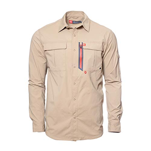 (American Outdoorsman The Long-Sleeve Blackfoot River Ultimate Fishing Shirt (XX Large, Deerskin))
